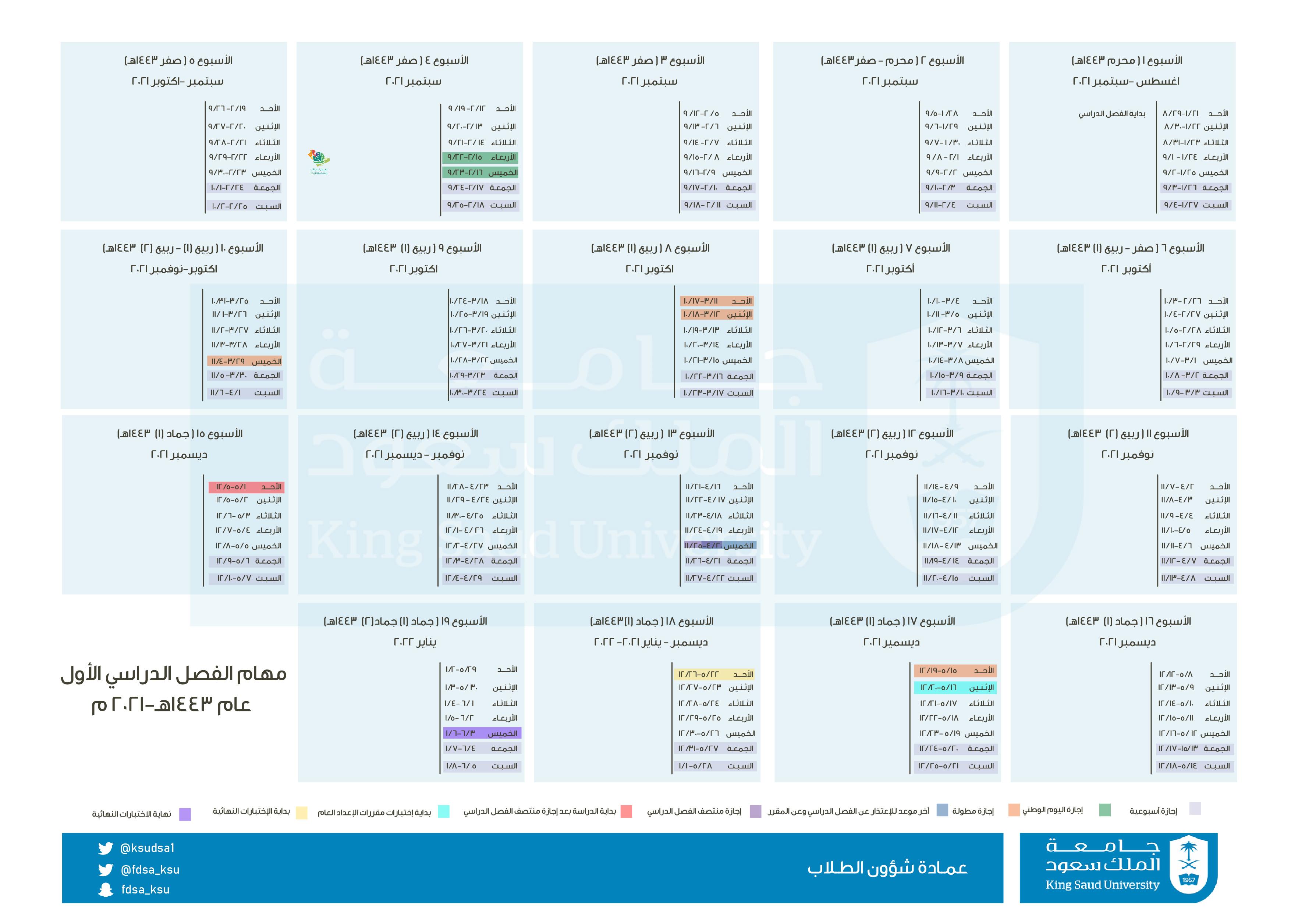 جدول مهام الفصل الدراسي الأول